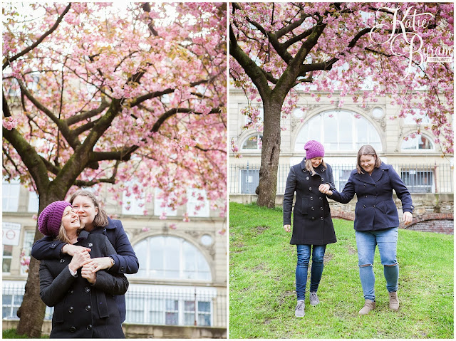 cherry blossom, newcastle city centre, same sex couple, gay wedding, katie byram photography, two brides, gay engagement,