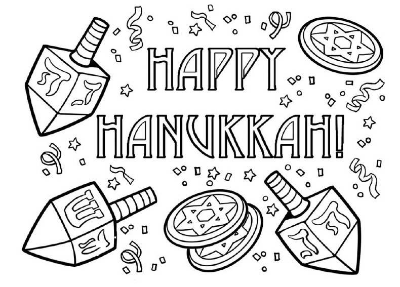 Playful image with hanukkah coloring pages printable