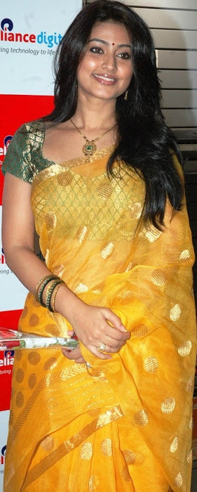 sneha in yellow saree from india hot photoshoot