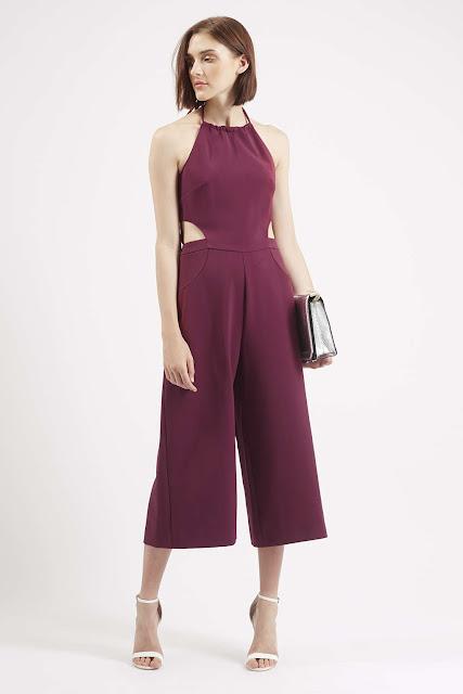 dark pink culottes, burgundy culotte, halter neck culotte, culotte jumpsuit,