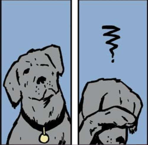 Two comics panels, side by side. In the first, Pizza Dog, a mutt who looks vaguely like a golden retriever, tilts his head to the side, one eye closed. in the second, he presses a paw over his eye, a squiggly question mark above his head.