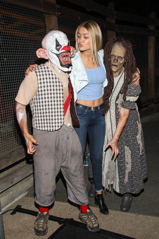 Gigi Hadid flaunts cropped top and denim jeans at Halloween event at Knott's Berry Farm in LA