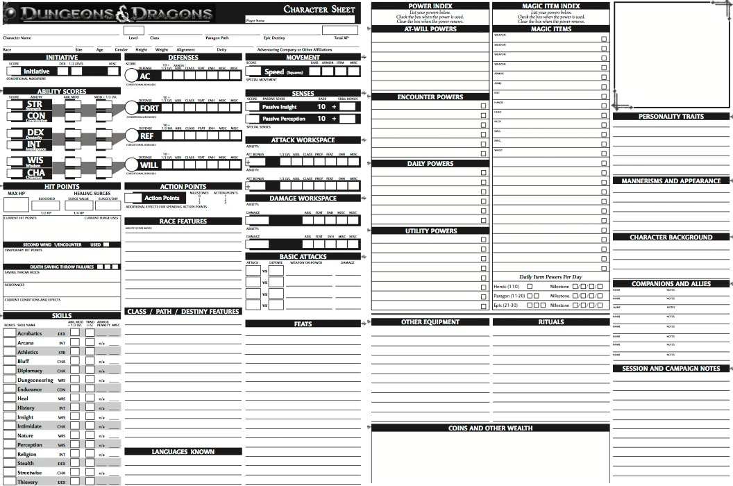 d&d 6th edition character sheet