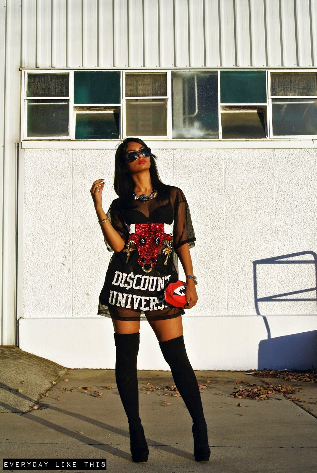 Discount Universe 'No Bulls Tee' Grandma Funk Vintage leather shorts American Apparel thigh high socks Tony Bianco Boots Asos Clutch Slapsee sunnies melbourne fashion blogger