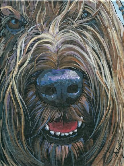 dog painting, Briard