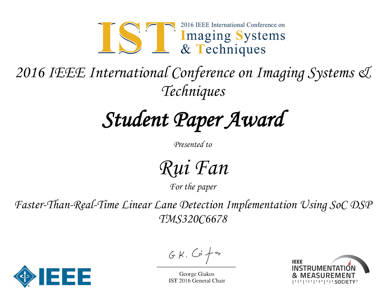 2016 IEEE IST Best Student Paper Award