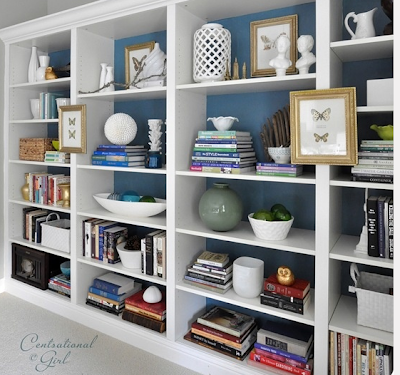 bookshelves with blue background