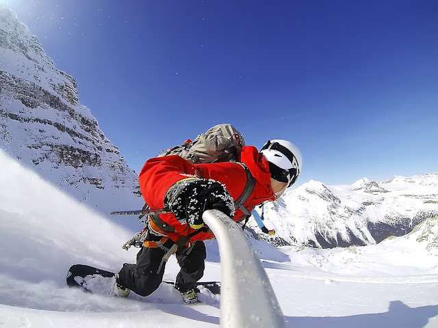 GoPro3 self shot snowboarding down The Presidential glacier.