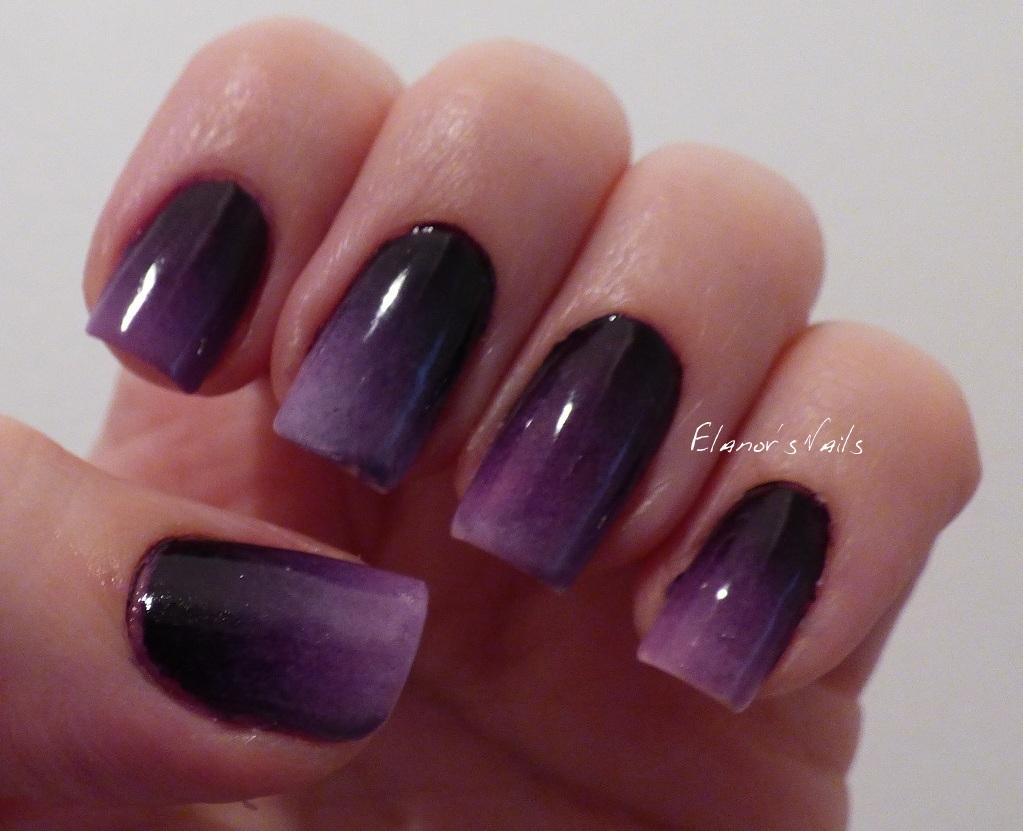 Halloween Graveyard Nails Purple Gradient