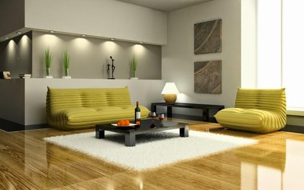 Salas Decoracion Elegantes ~ Sala decorada con sof?s de dise?o moderno, pocos accesorios y