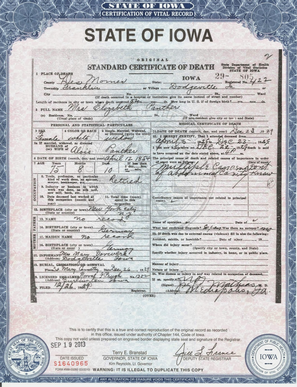 Matts genealogy blog elizabeth dunzingers death certificate on the certificate youll notice that her father and mother are listed as no record it lists her birth date as april 12 1854 and her birth location as aiddatafo Gallery