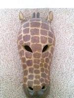 Handmade wood carved Giraffe mask made in India