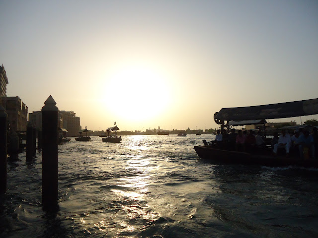 Sunset view while riding the Abra in Dubai Creek