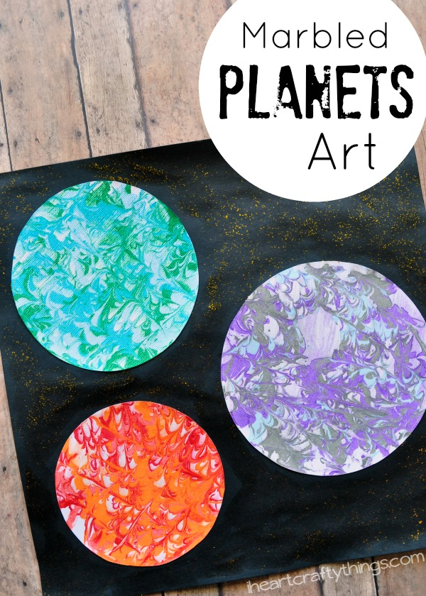 preschool space craft marbled planets art i heart crafty things