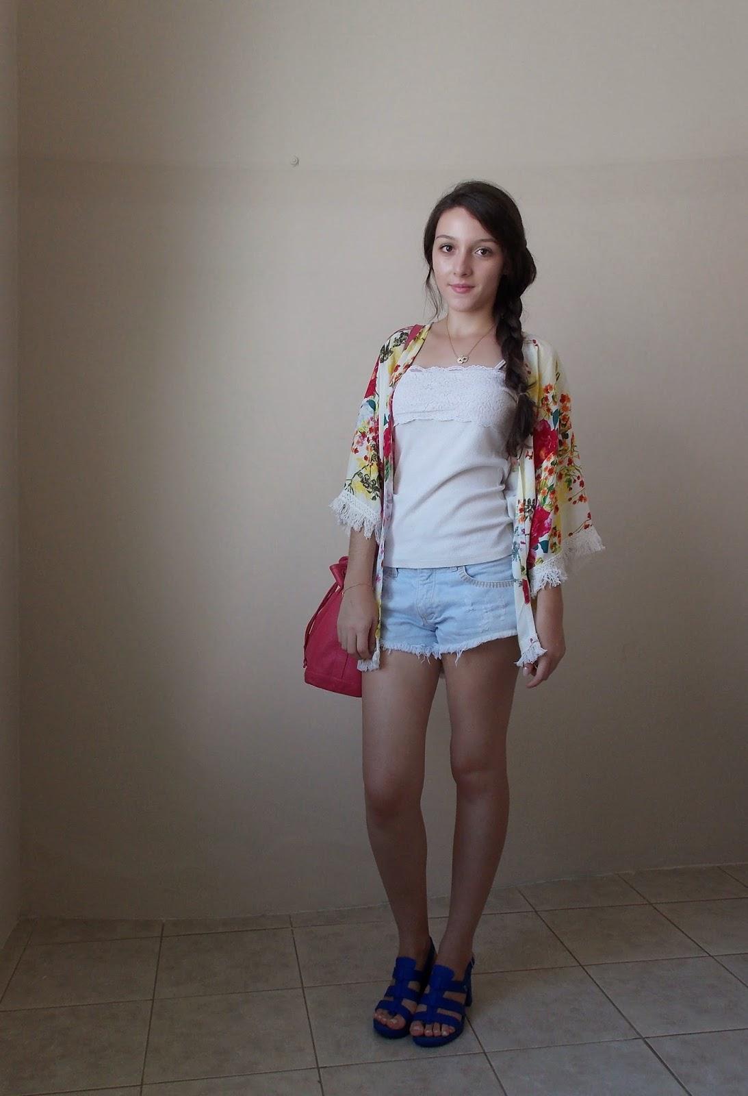 kimono floral jeans básico feminino
