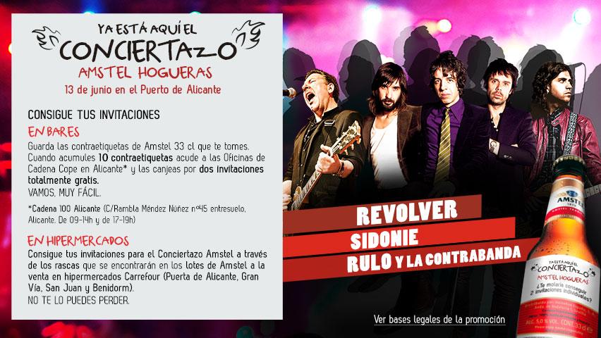 Conciertazo Amstel Hogueras 2014 REVOLVER, SIDONIE  y  RULO y LA CONTRABANDA 13 de Junio en ALICANTE