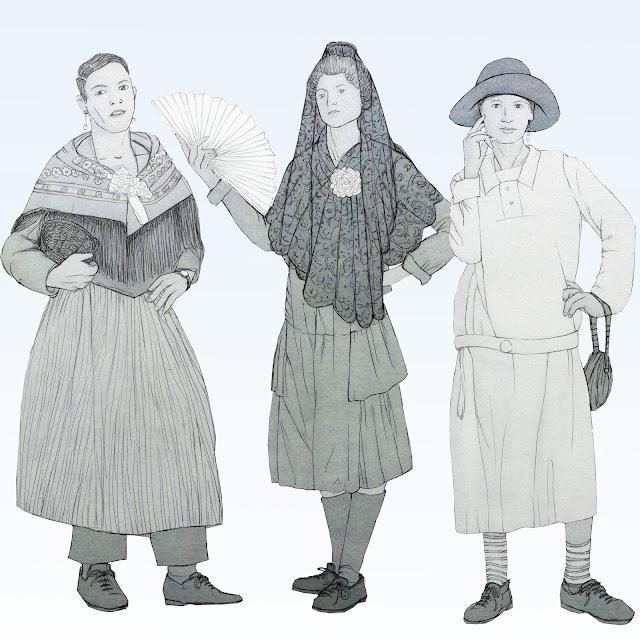 tres, travestis , dibujo