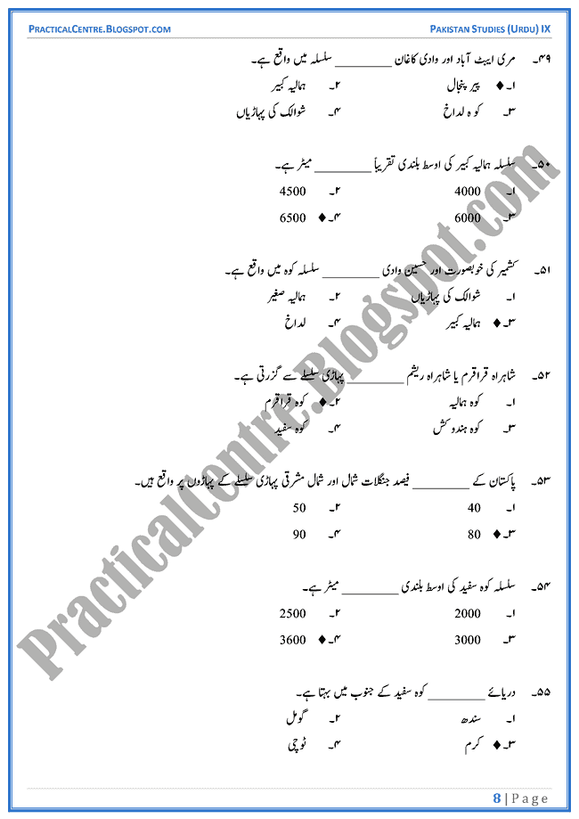 land-and-climate-of-pakistan-mcqs-pakistan-studies-urdu-9th