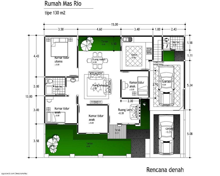 gambar sketsa denah rumah minimalis 1 lantai menarik