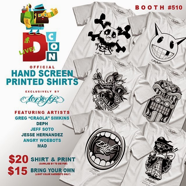 "Designer Con 2014 Exclusive Artist Series Hand Screen Printed T-Shirts by To Die For Clothing - Greg ""Craola"" Simkins, Deph, Jeff Soto, Jesse Hernandez, Angry Woebots & MAD"