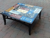 license Plate Coffee Table Repurposed table w/ license plates one of a kind $175 size 15x37x17