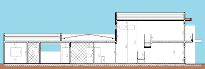 A seção transversal do projeto ilustra o conceito de ventilação cruzada dos ambientes sociais e o princípio de exaustão natural do ar aquecido, através das aberturas superiores.