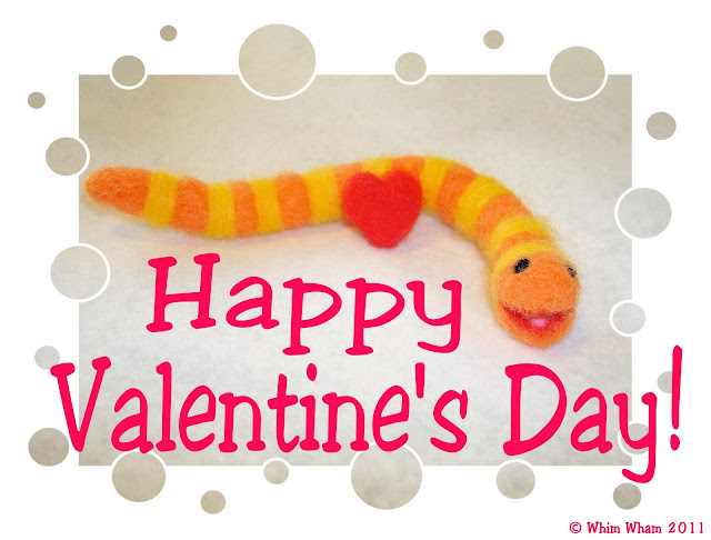 needle felted Slimey the worm Valentine