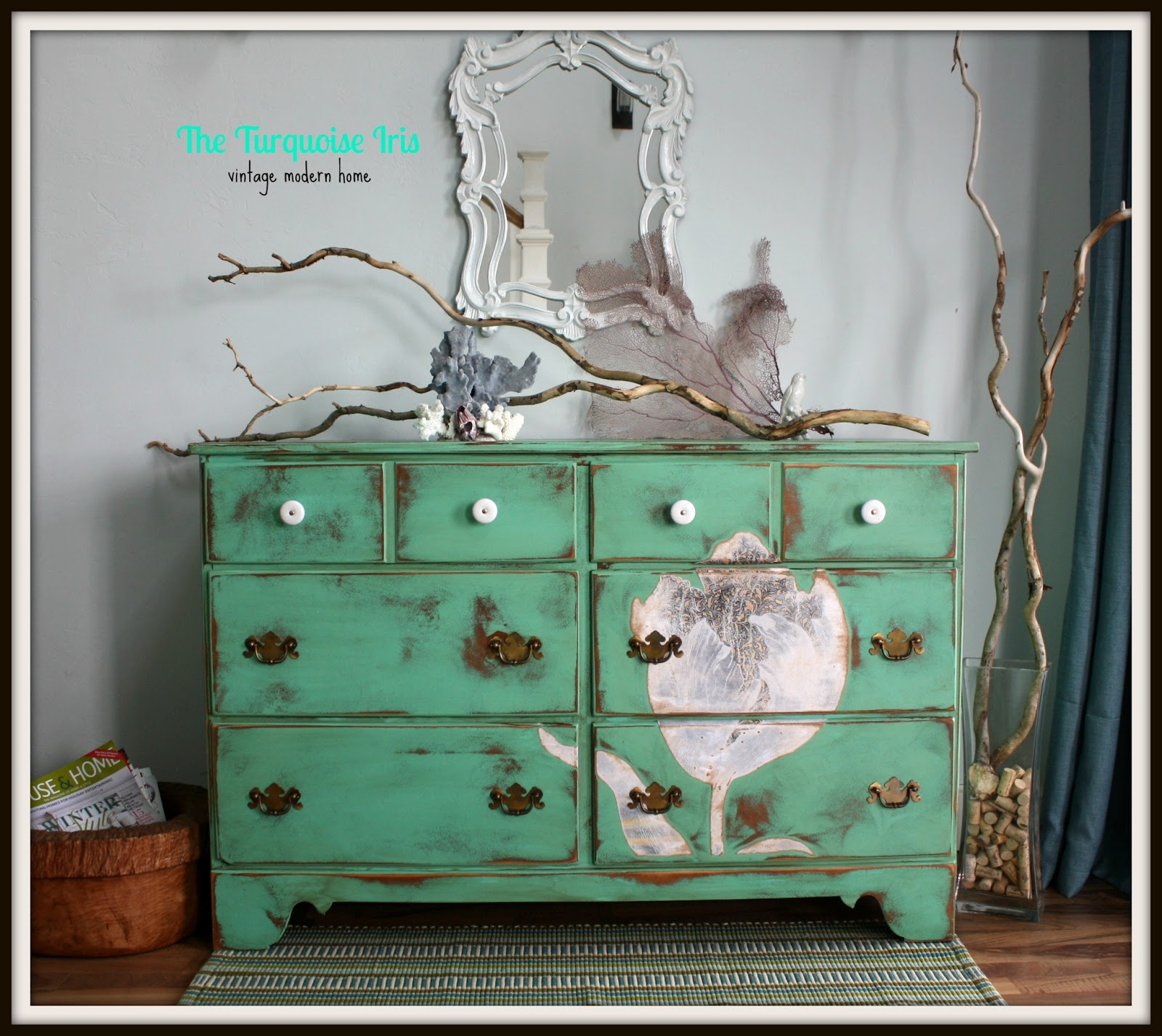 The turquoise iris furniture art mint green for Mint green furniture paint