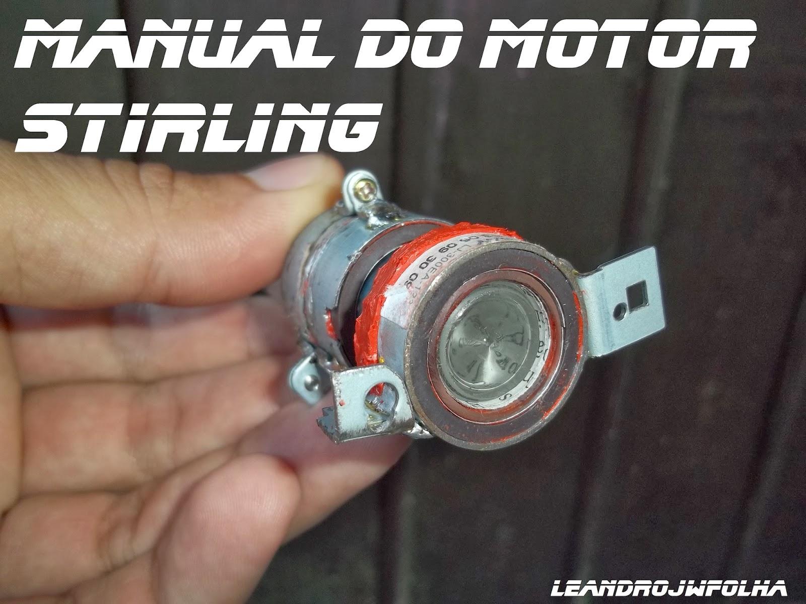 Manual do motor Stirling, pistão frio com uma folga de 0,12 mm entre o cilindro e o pistão