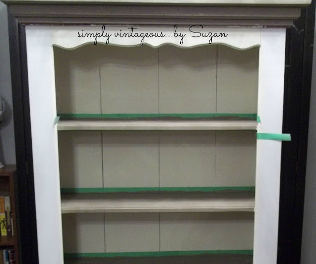 bookcase, before, after, old white, coco, annie sloan, knotty pine