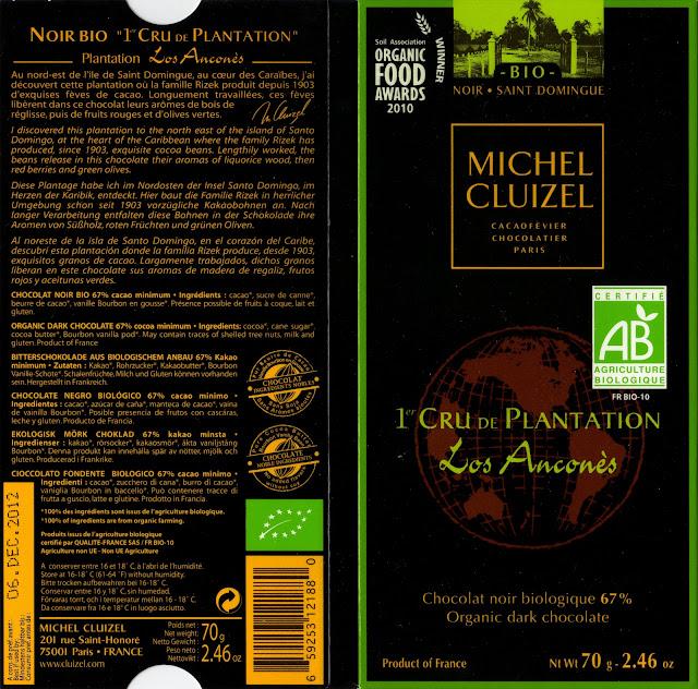 tablette de chocolat noir dégustation michel cluizel noir 1er cru de plantation los ancones