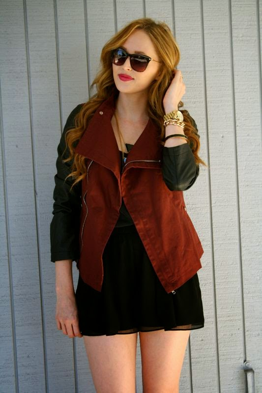 LA personal style blogger, personal style blog, Golden Divine Blog, Ashley Murphy, Leather, Leather trend, Leather sleeve jacket, Lulus.com jacket