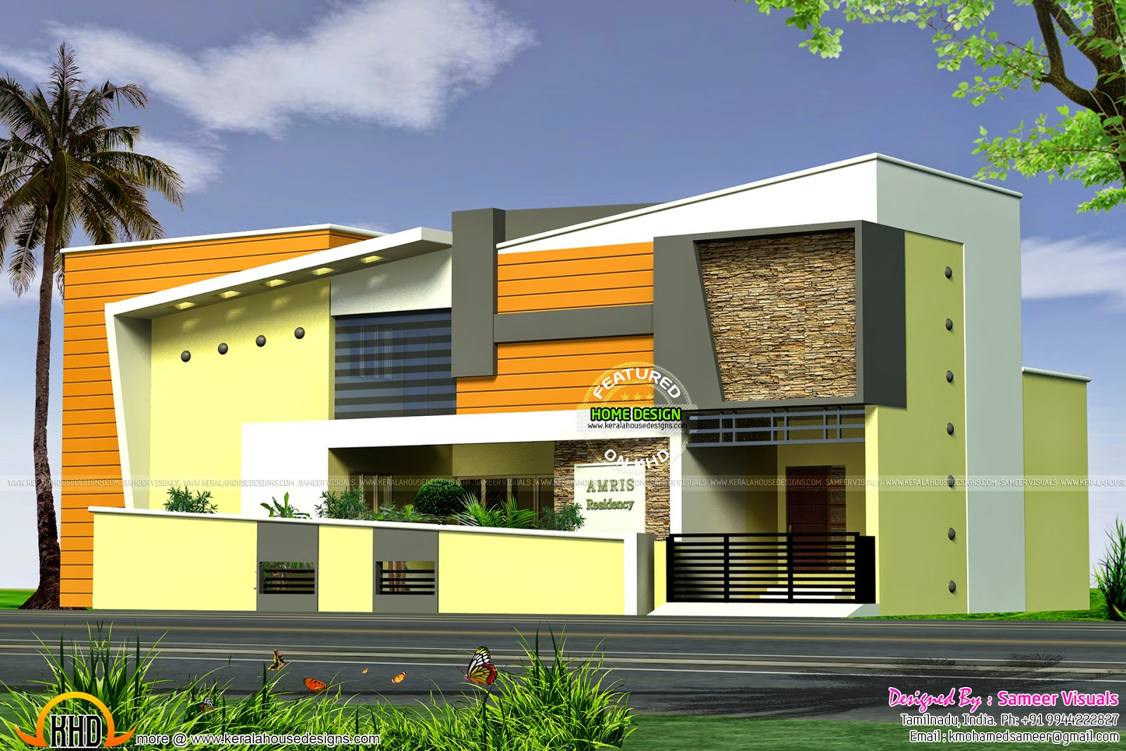Modern Single Floor Front Elevation : Modern elevation sq ft kerala home design and floor