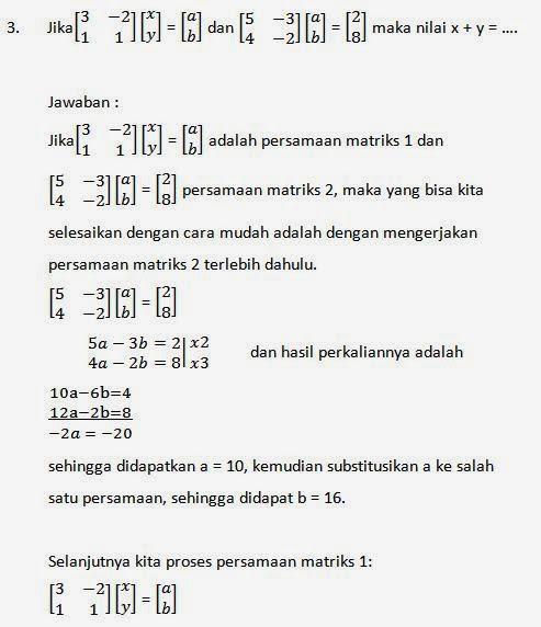 Contoh Soal Dan Pembahasan Matriks Matematika