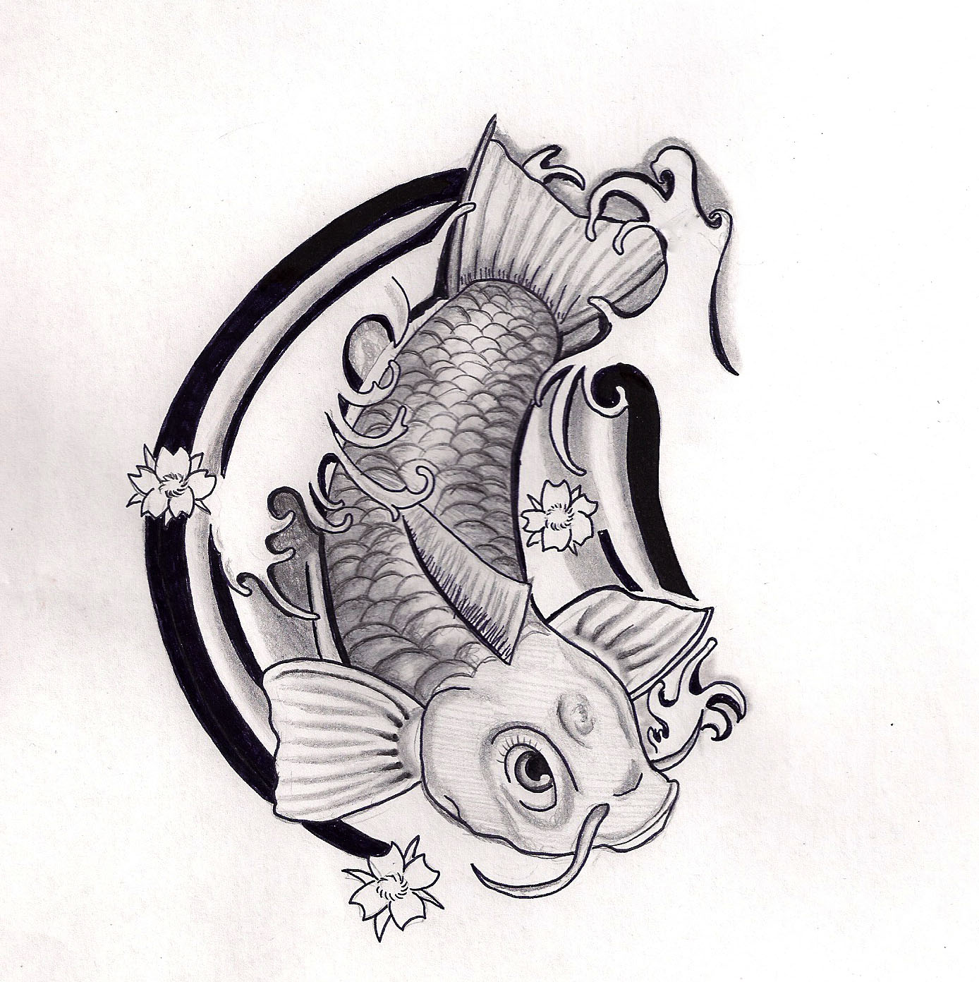 Tatto koi fish tattoo for Koi fish black and grey
