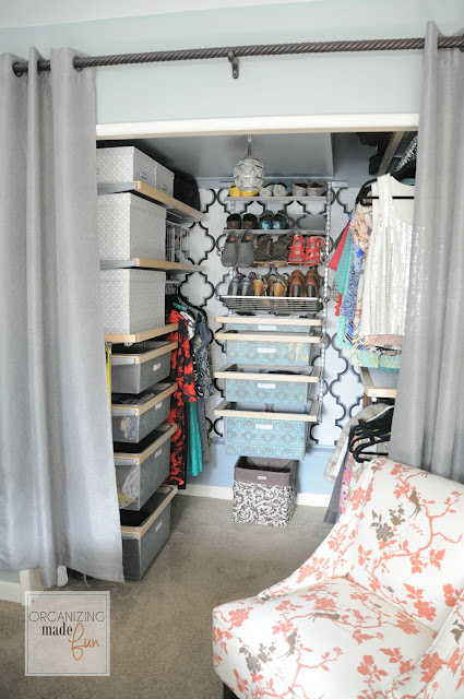 Master Bedroom organized closet :: OrganizingMadeFun.com