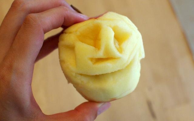 carved apple face for shrunken apple head