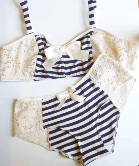 ohhh lulu navy stripes and lace bra and underwear set