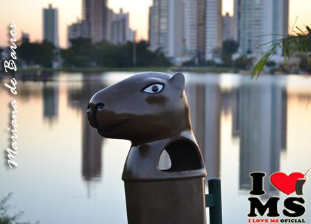 Parque das Nações - Campo Grande - MS - Capivara - O animal mais querido do Parque. Foto: Mariana de Barros