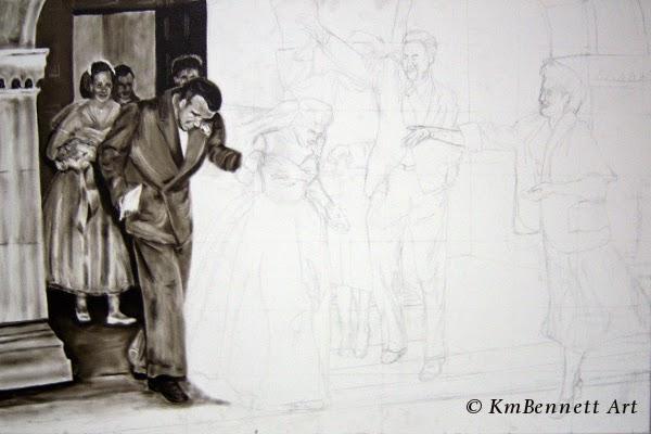 Painting: Wedding Party 01 progress 1