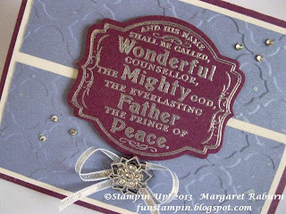 "Fun Stampin' with Margaret, Prince of Peace Single SU Stamp, CCMC271 sketch, Deco Framelit, Modern Mosaic TIEF, Frosty Accent, Silver 1/8"" Ribbon, SU"