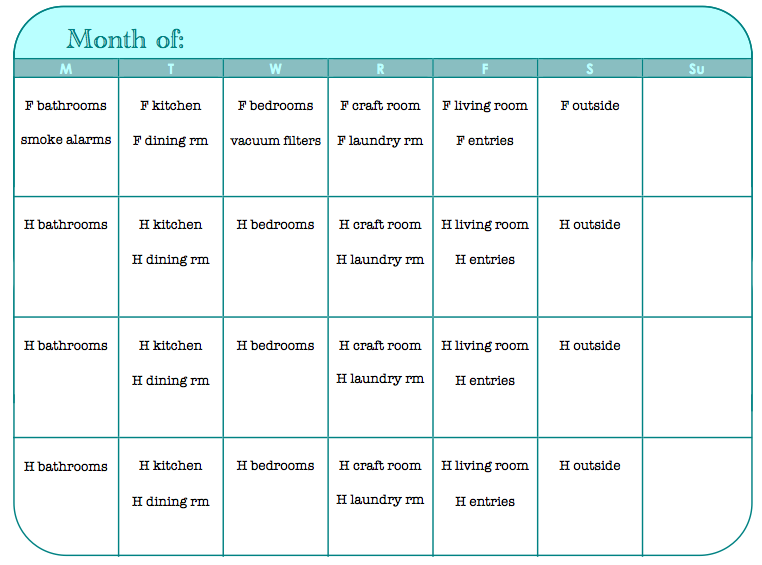 31 Days :: day 6, 7, 8, 9- monthly/weekly cleaning, meals & exercise ...