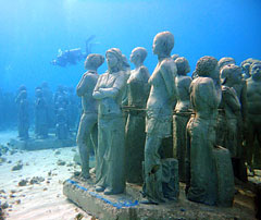 The Worlds Largest Underwater Museum Opened Three Miles Offshore In November 2010 With Hundreds Of Sunken Life Size Human Figures