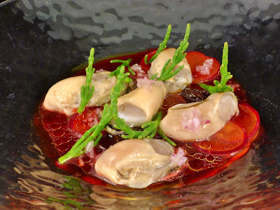 The Post Ranch Kitchen: Oysters with Hibiscus and Sea Beans