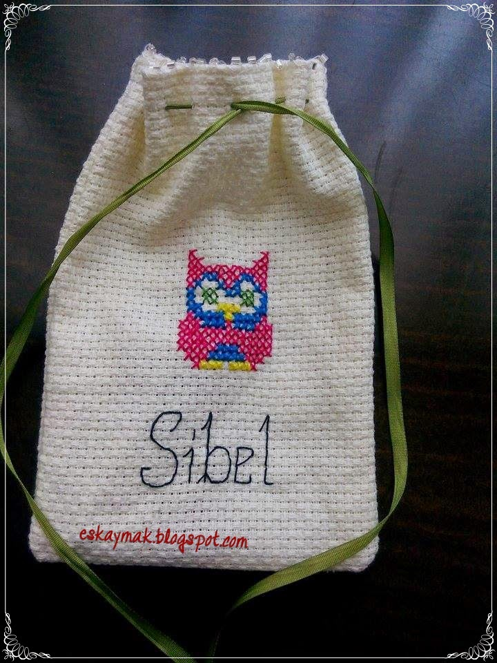 etamin, kese, nakış, embroidery, baykuş, owl, hediye, gift, kurdele, diy, handmade, do it yourself, craft,