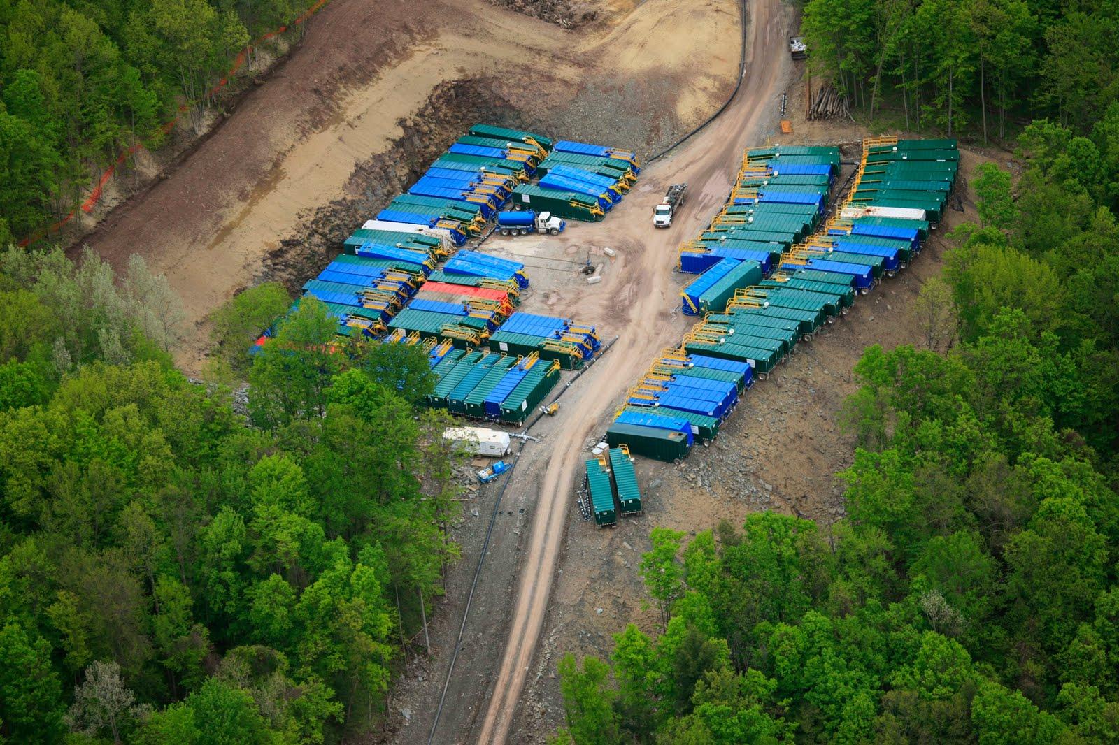 trucks storing fracking water