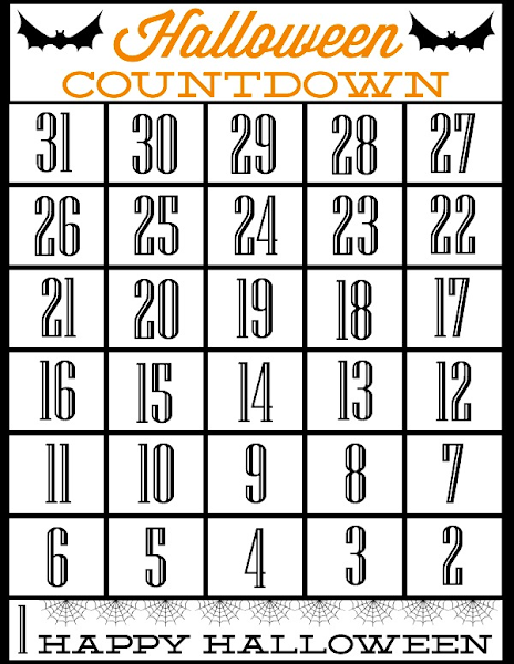 Free Printable Halloween Countdown from Blissful Roots