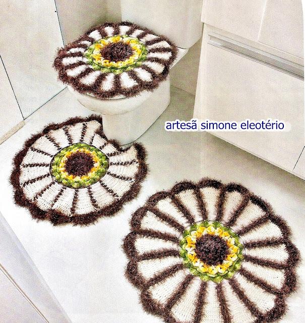 crochecomreceita banheiros com girassol