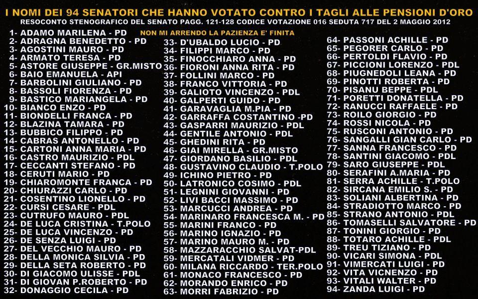Attraverso l 39 oltre ribellione e sputtanamento for Elenco senatori