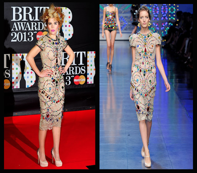 a filha do chefe Paloma Faith Dolce & Gabbana dress brit awards 2013